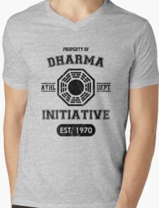 Dharma Initiative athletic department (Black ver.) Mens V-Neck T-Shirt