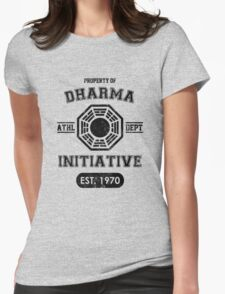 Dharma Initiative athletic department (Black ver.) Womens Fitted T-Shirt
