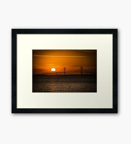 Sidney Lanier Suspension Bridge at Sunset Framed Print