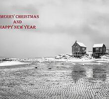 Weathering Shacks Christmas Card by Richard Bean