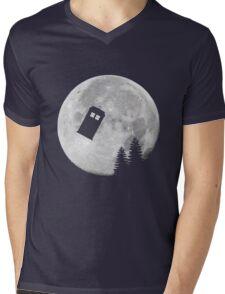 Tardis by the Moon Mens V-Neck T-Shirt