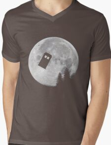 Tardis by the Moon Mens V-Neck T-Shirt