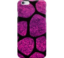 Animal Print Giraffe, Shiny Glitter - Black Pink iPhone Case/Skin