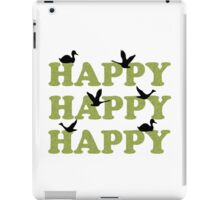 Green Digital Camo Happy Happy Happy iPad Case/Skin