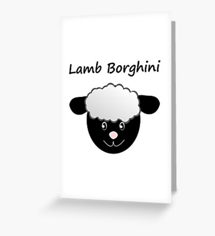 Lamb Borghini funny Sheep Pun Greeting Card