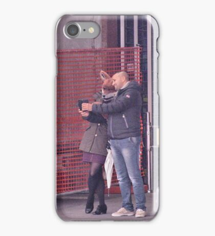 the fox lady in the station (selfie with) iPhone Case/Skin