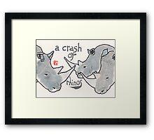 Crash of Rhinos (animal groups series) Framed Print
