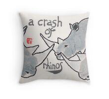 Crash of Rhinos (animal groups series) Throw Pillow