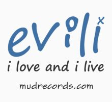 The I Love and I Live logo in mid blue Baby Tee