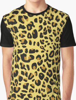 Animal Print, Spotted Leopard - Yellow Black  Graphic T-Shirt