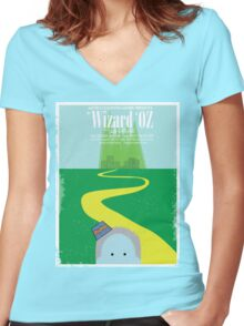 Wizard Of Oz Distressed Women's Fitted V-Neck T-Shirt
