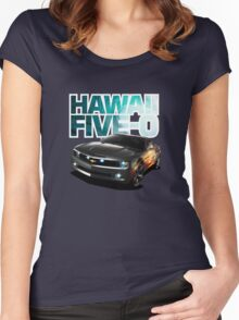 Hawaii Five-O Black Camaro (White Outline) Women's Fitted Scoop T-Shirt