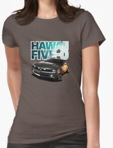 Hawaii Five-O Black Camaro (White Outline) Womens Fitted T-Shirt