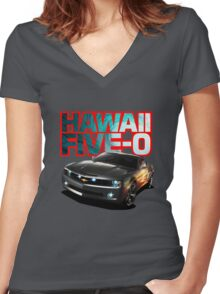 Hawaii Five-O Black Camaro (Red Outline) Women's Fitted V-Neck T-Shirt