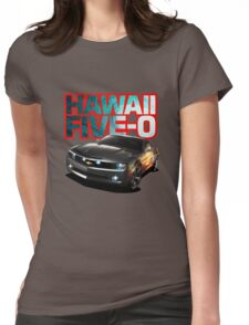 Hawaii Five-O Black Camaro (Red Outline) Womens Fitted T-Shirt
