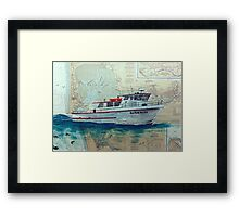 Charter Fishing Boat HULA GIRL WA Nautical Map Cathy Peek Framed Print