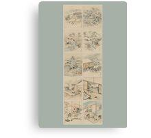 Early 1800s Japanese Drawings of Chūshingura (忠臣蔵) Blue Background Canvas Print