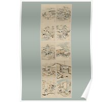 Early 1800s Japanese Drawings of Chūshingura (忠臣蔵) Blue Background Poster