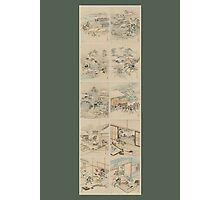Early 1800s Japanese Drawings of Chūshingura (忠臣蔵) Green Background Photographic Print