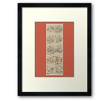 Early 1800s Japanese Drawings of Chūshingura (忠臣蔵) Orange Background Framed Print
