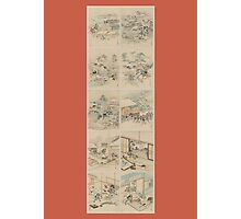 Early 1800s Japanese Drawings of Chūshingura (忠臣蔵) Orange Background Photographic Print