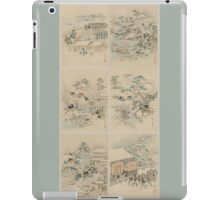 Early 1800s Japanese Drawings of Chūshingura (忠臣蔵) Blue Background iPad Case/Skin