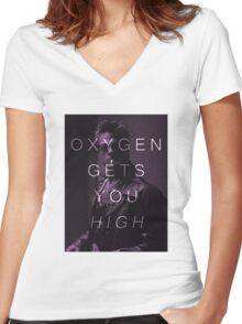Oxygen Gets You High Women's Fitted V-Neck T-Shirt
