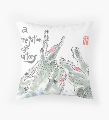 Congregation of Alligators (animal groups series) Throw Pillow