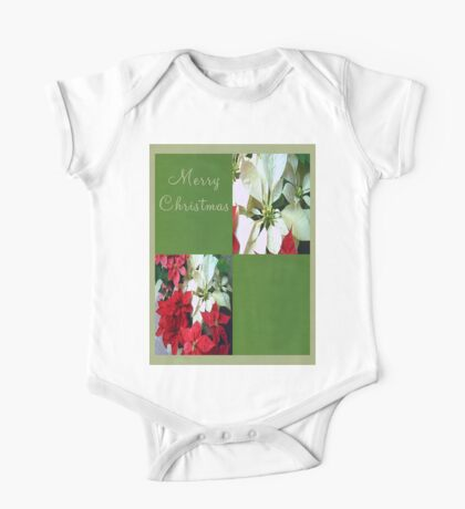 Mixed color Poinsettias 1 Merry Christmas Q5F1 One Piece - Short Sleeve