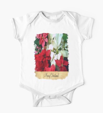 Mixed color Poinsettias 1 Merry Christmas S2F1 One Piece - Short Sleeve