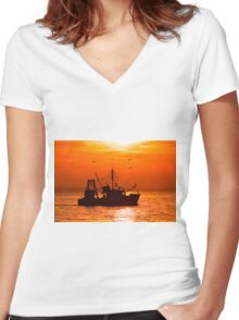 Perfect Fishing Weather Women's Fitted V-Neck T-Shirt