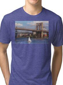 Sailing under the Brooklyn Bridge Tri-blend T-Shirt