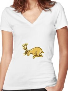 Deer Charging Side Cartoon Women's Fitted V-Neck T-Shirt