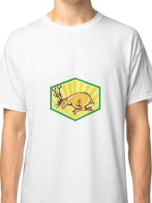 Stag Deer Charging Side Cartoon Classic T-Shirt