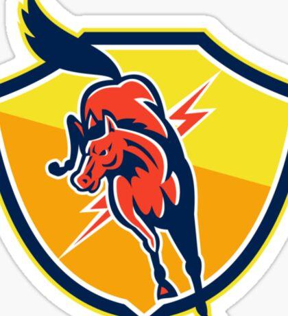 Red Horse Jump Lightning Bolt Shield Retro Sticker