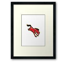 Red Horse Jumping Cartoon Framed Print
