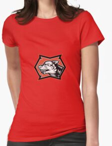 Angry Wolf Wild Dog Retro Womens Fitted T-Shirt