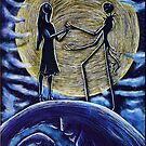 Jack and Sally in the Moon by ArtbyJoshua
