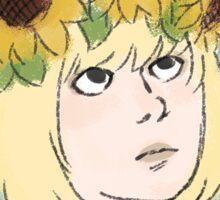 sunflower crown blue Sticker