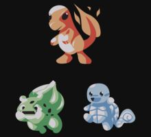 Kanto Starters - Retro (No Outline) by DanSoup