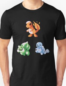 Kanto Starters - Retro (No Outline) T-Shirt