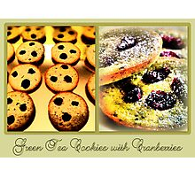 Green Tea Cookies with Cranberries Photographic Print