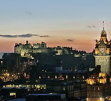 Balmoral Clocktower and Edinburgh Castle at Dusk by Miles Gray