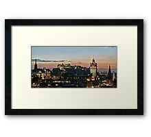 Balmoral Clocktower and Edinburgh Castle at Dusk Framed Print