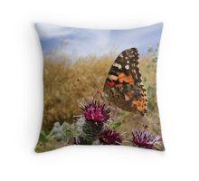 Butterfly having a breakfast Throw Pillow