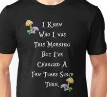 Alice in Wonderland Saying, White text. Unisex T-Shirt