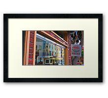 Columbus Street Window Reflection Framed Print