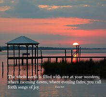 Sunset on the Bay 2 / scripture by Rose Cavaco
