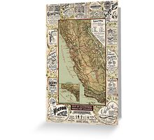 Cycling Map of California 1895 Greeting Card