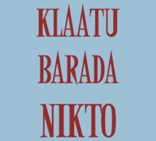 KLAATU BARADA NIKTO One Piece - Short Sleeve